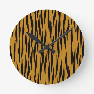 Fun Tiger Print Round Clock