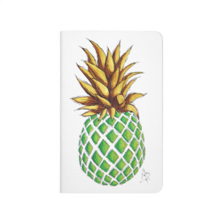 Fun Trendy Gold & Green Pineapple Summer Journal