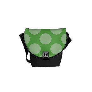Fun Trendy Green Polka Dots Pattern on Green Messenger Bag