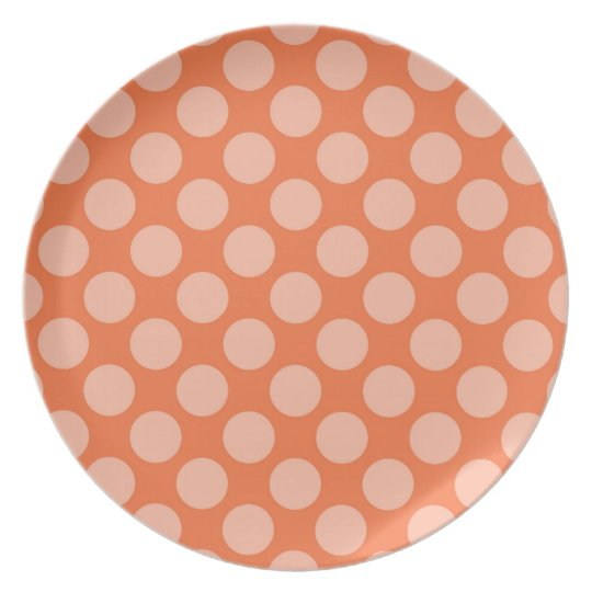 Fun Trendy Orange Polka Dots Pattern on Orange Plate