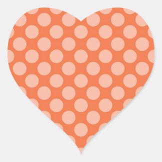 Fun Trendy Orange Polka Dots Pattern on Orange Heart Stickers