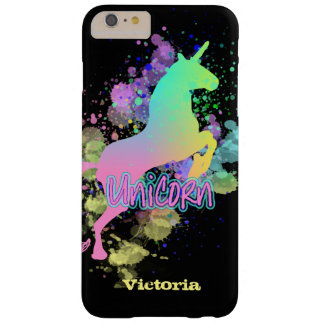 Fun Trendy Rainbow Unicorn Personalized Barely There iPhone 6 Plus Case