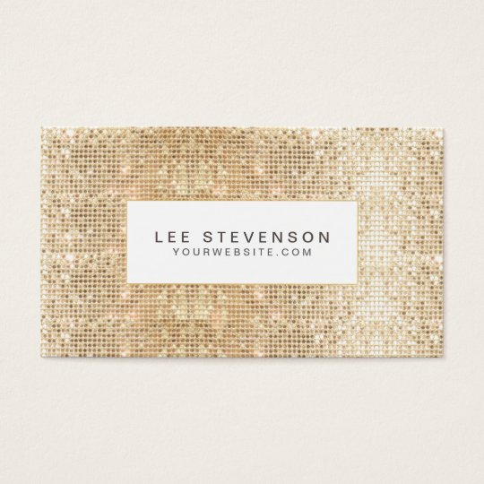 Fun Trendy Sparkly Gold Sequins Beauty Business Card