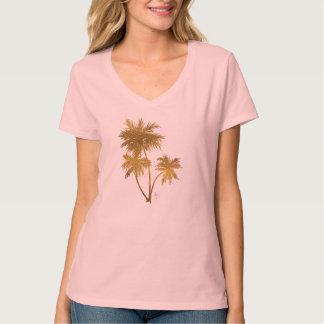Fun Tropical Gold Foil Palm Tree T-Shirt Design