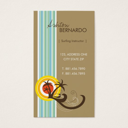 Fun Tropical Palm Trees Sunset Brown Beach Holiday Business Card