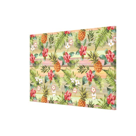 Fun Tropical Pineapple Fruit Floral Stripe Pattern Canvas