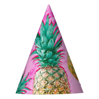 Fun Tropical Pineapples & Pink Marble Chic Party Party Hat