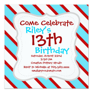 Fun Turquoise Blue Red and White Diagonal Stripes 13 Cm X 13 Cm Square Invitation Card