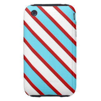 Fun Turquoise Blue Red and White Diagonal Stripes iPhone 3 Tough Cover