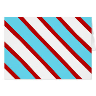Fun Turquoise Blue Red and White Diagonal Stripes Note Card