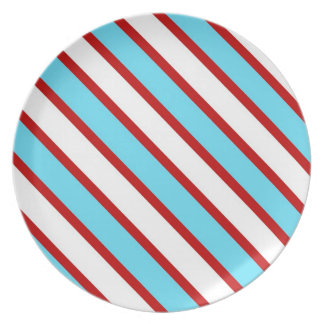 Fun Turquoise Blue Red and White Diagonal Stripes Dinner Plates