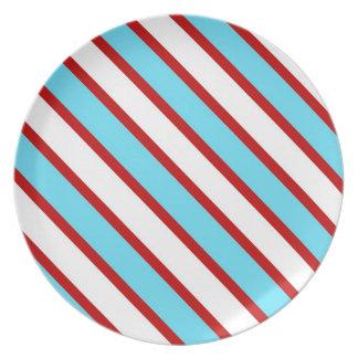 Fun Turquoise Blue Red and White Diagonal Stripes Plates
