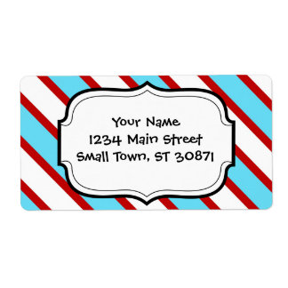 Fun Turquoise Blue Red and White Diagonal Stripes Shipping Label