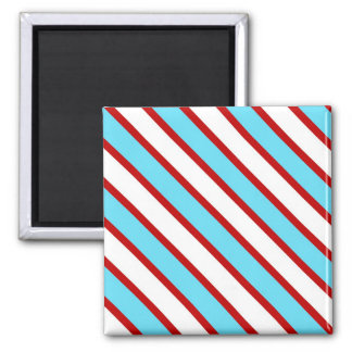 Fun Turquoise Blue Red and White Diagonal Stripes Square Magnet