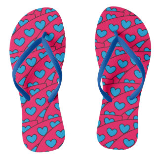Fun Turquoise Hearts Pattern on Hot Pink Flip Flops