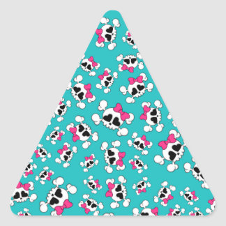 Fun turquoise skulls and bows pattern triangle sticker