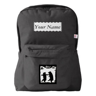 Fun Two Bears Dancing Under Trees Owl Black White Backpack