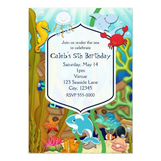 Fun under the sea kids birthday party Invitations