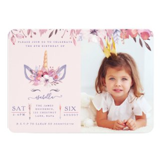 Fun Unicorn face watercolor photo party invite. Invitation