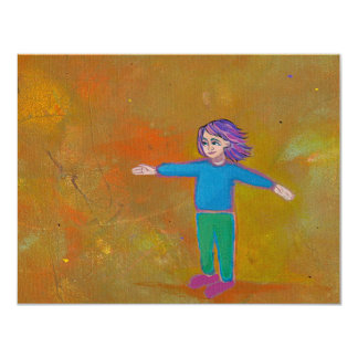 "Fun unique art modern abstract colorful woman wind 4.25"" x 5.5"" invitation card"