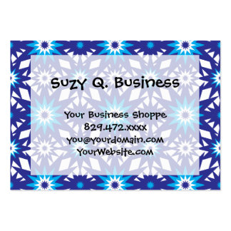 Fun Vibrant Blue Teal Star Starburst Pattern Business Card Templates