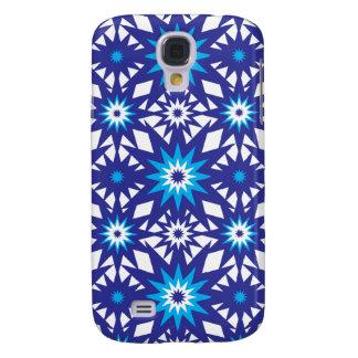 Fun Vibrant Blue Teal Star Starburst Pattern Galaxy S4 Case