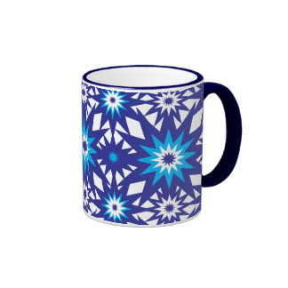 Fun Vibrant Blue Teal Star Starburst Pattern Mug
