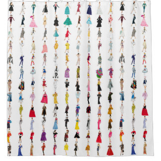 Fun Vintage Dresses Fashion Illustration Pattern Shower Curtain
