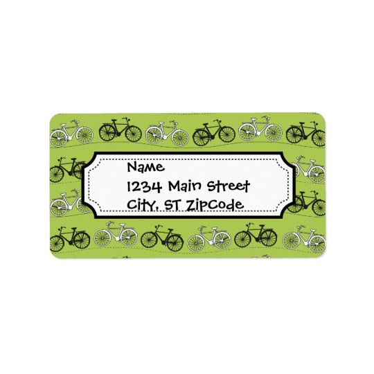 Fun Vintage Green Bicycles Pattern Print Address Label