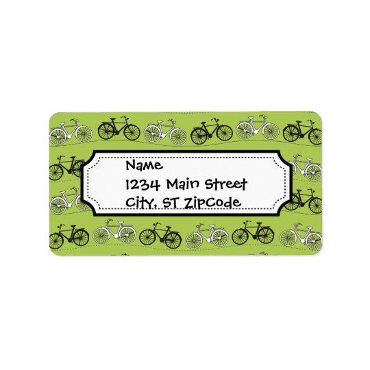 Fun Vintage Green Bicycles Pattern Print Label