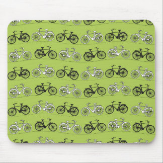 Fun Vintage Green Bicycles Pattern Print Mouse Mat