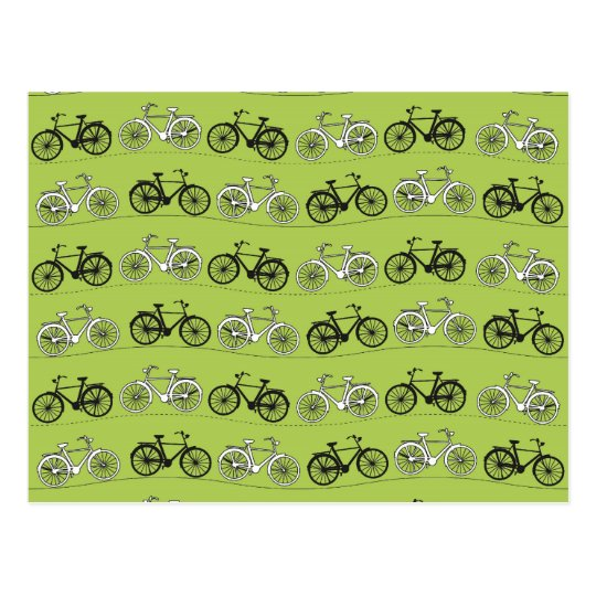 Fun Vintage Green Bicycles Pattern Print Postcard