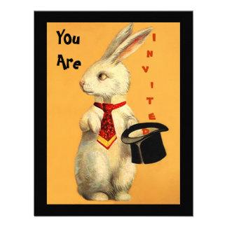 Fun Vintage Magic Show Rabbit & Top Hat Invitation