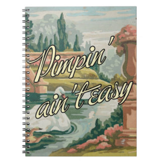Fun Vintage PBN Swans Scenic Notebook with Twist