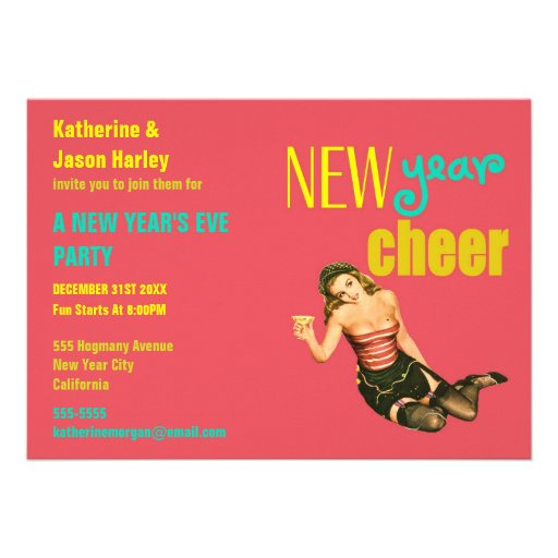 Fun Vintage Pin-Up Girl New Year Party Invitation