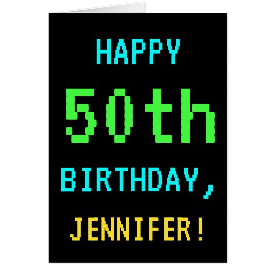 Fun Vintage/Retro Video Game Look 50th Birthday Card