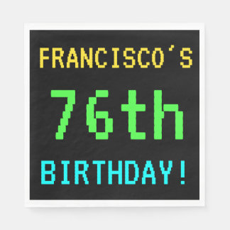 Fun Vintage/Retro Video Game Look 76th Birthday Paper Napkin