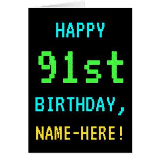 Fun Vintage/Retro Video Game Look 91st Birthday Card
