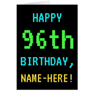 Fun Vintage/Retro Video Game Look 96th Birthday Card