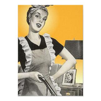 Fun Vintage Suburban House Chores Blank Invitation