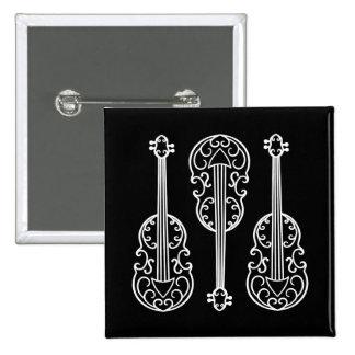 Fun violin pattern black and white 15 cm square badge
