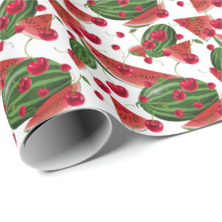 Fun Watermelon and cherries pattern fruit wrap Wrapping Paper