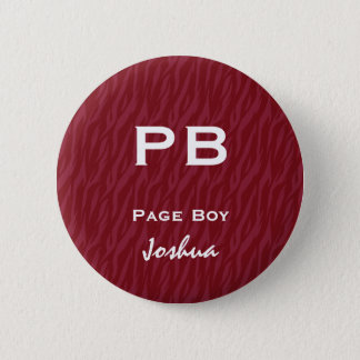 Fun Wedding Role Abbreviation Burgundy Red Zebra 6 Cm Round Badge