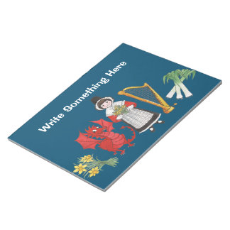 Fun Welsh Costume and Emblems on Blue Notepad