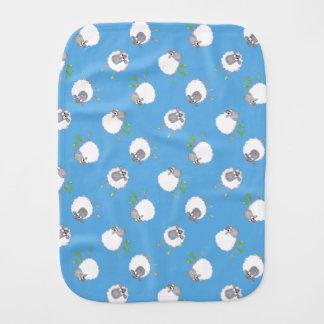 Fun Welsh Sheep Pattern on Sky Blue Background Burp Cloth