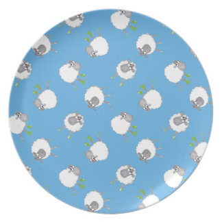 Fun Welsh Sheep Pattern on Sky Blue Background Plate