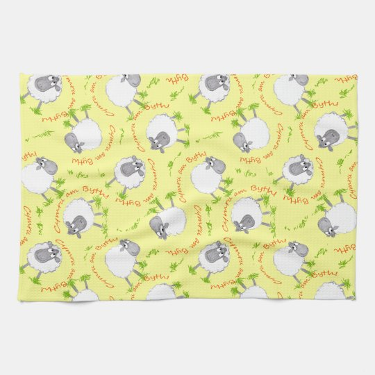Fun Welsh Sheep, Wales Forever, Kitchen Towel