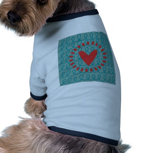 Fun Whimsical Doodle Heart and Swirls Doggie T-shirt