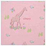 Fun Whimsy Pink Patterned Giraffes Personalised Fabric