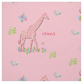 Fun Whimsy Pink Patterned Giraffes Personalized Fabric